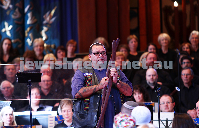 15-6-14. Temple Beth Israel. Sacred Music Concert - An Interfaith Celebration. David Dryden, welcome to country. Photo: Peter Haskin