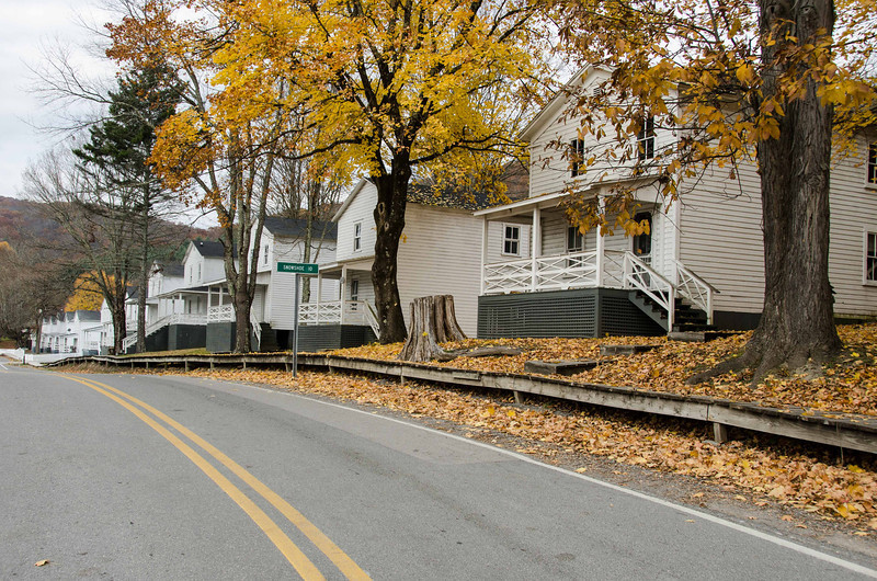 Main street of Cass W. Va, showing former worker houses which are now rented out for overnight stays.