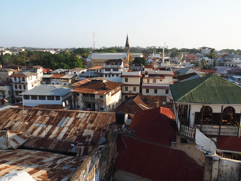 Veiw of Stone Town from the roof top restaurant Hotel Swahili