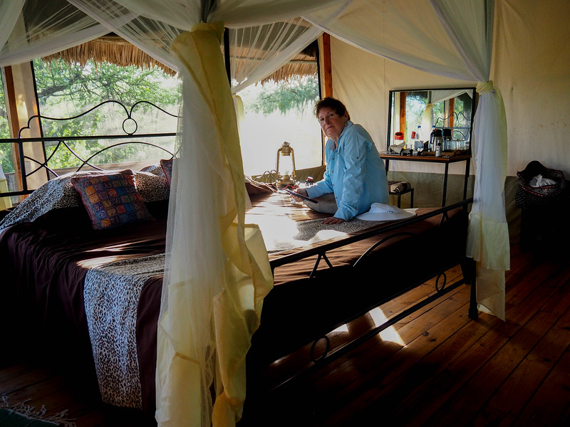 Interior of our tent cabin, Lake Burunge Lodge