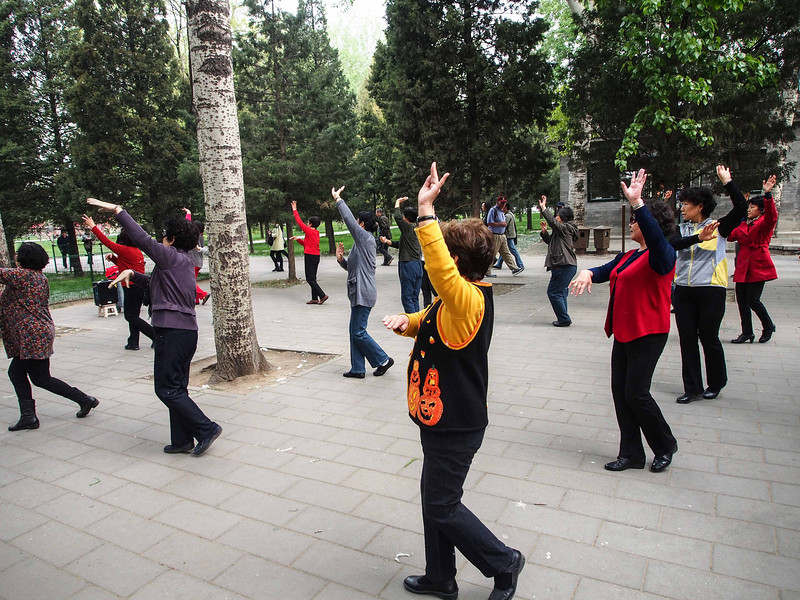 Women doing morning dance excercises - Temple of Heaven Park, Beijing