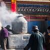 Burning incense outside Jokhang Temple - Lhasa