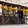 Spinning prayer wheels - Sera Monastery Lhasa