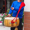 Drummer playing for dance demostration - Farming community outside of Xian