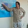 Our Galapagos tour leader, Jaime, explaining the ocean currents around the Galapagos