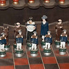 A chess set on display in the hacienda