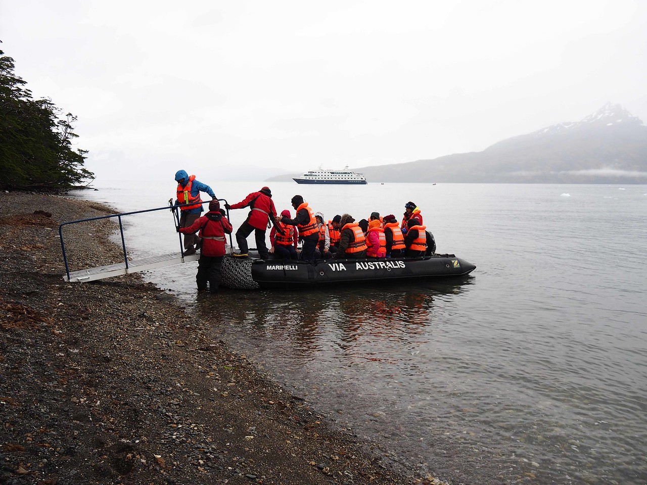 Disembarking on the shore of the Agostini Fjord