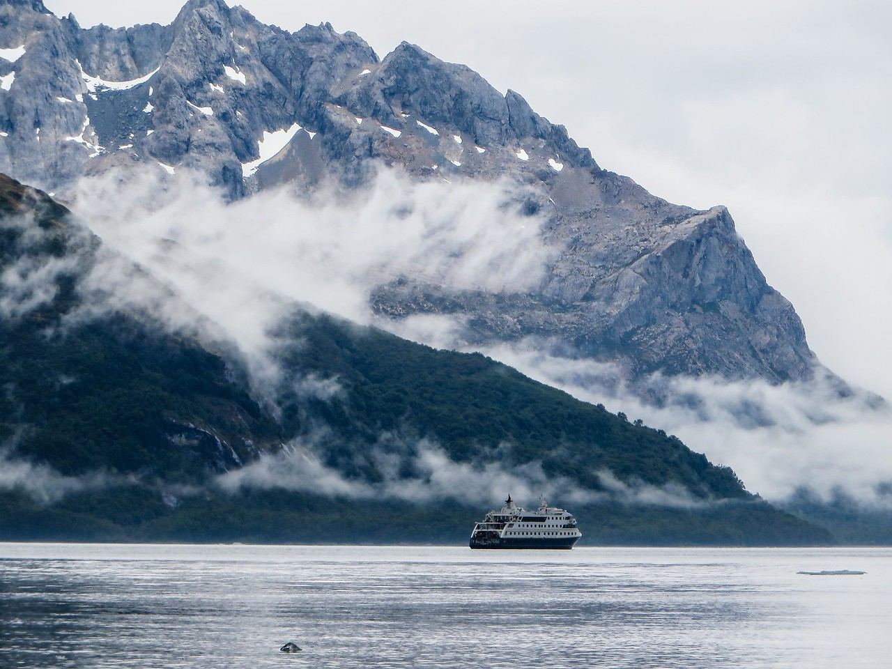Our Ship, the Australis, anchored in Agostini Fjord