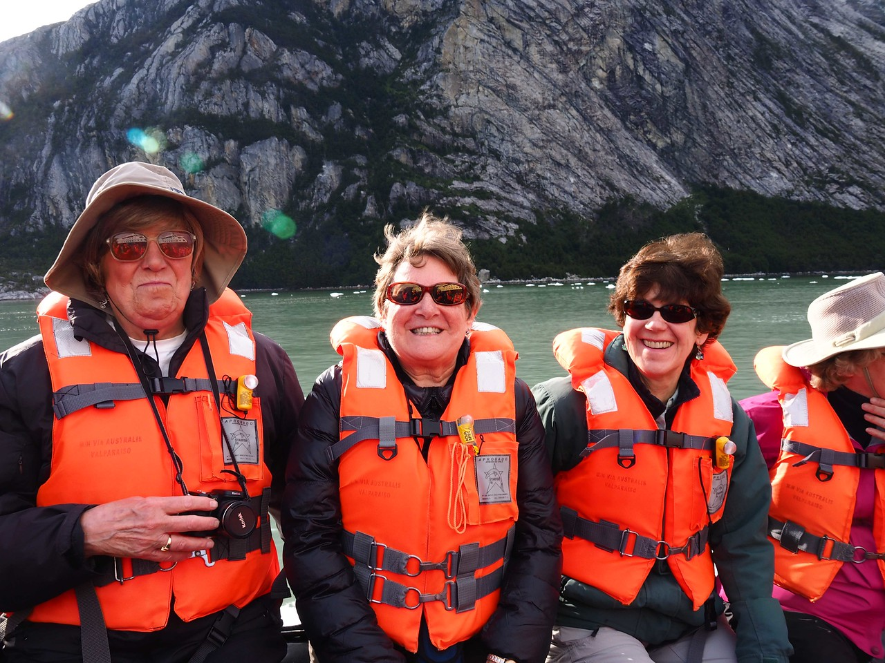 Phyllis with Vicki Gray (left) and Jane Fetter (right) riding to shore