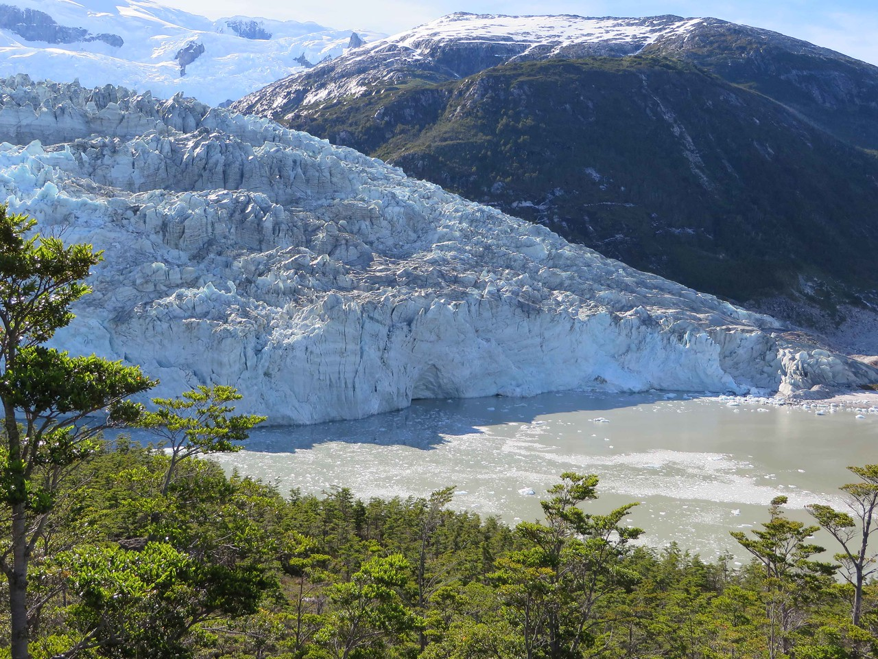 View of the Pia Glacier from up high.