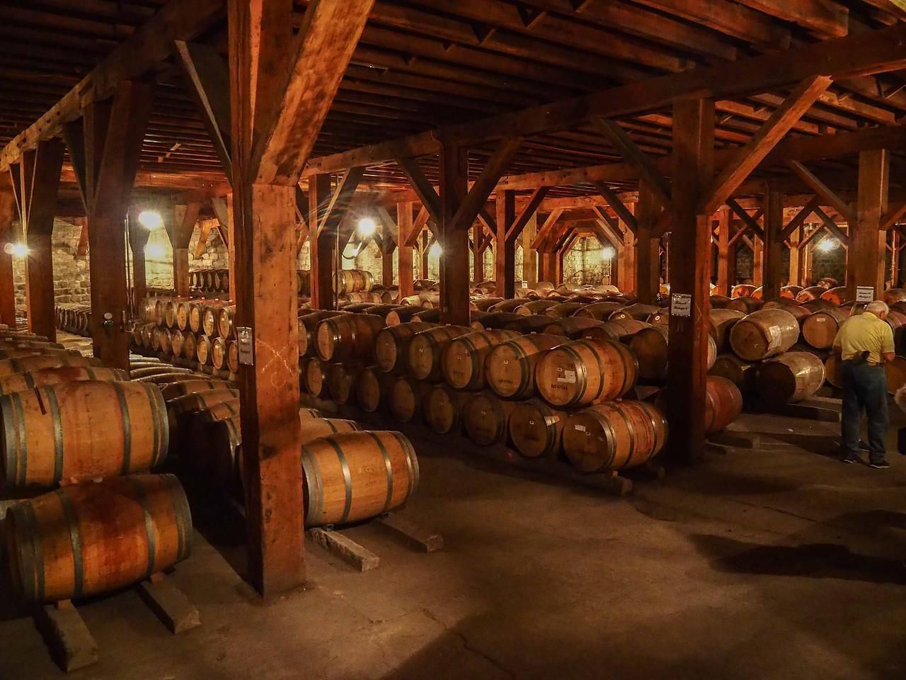 Aging the wine in oak casks