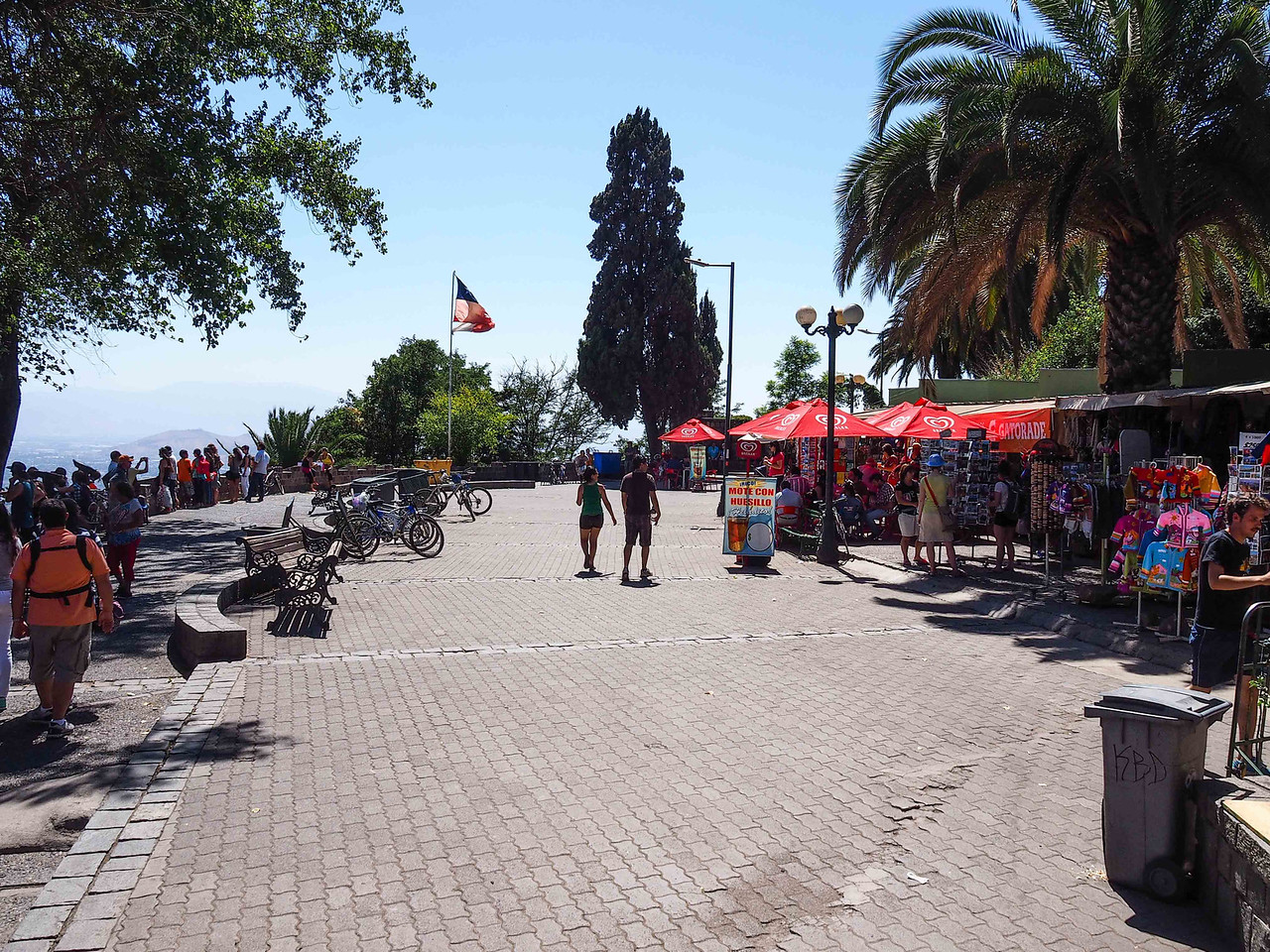Plaza and vendors atop San Cristobal Hill