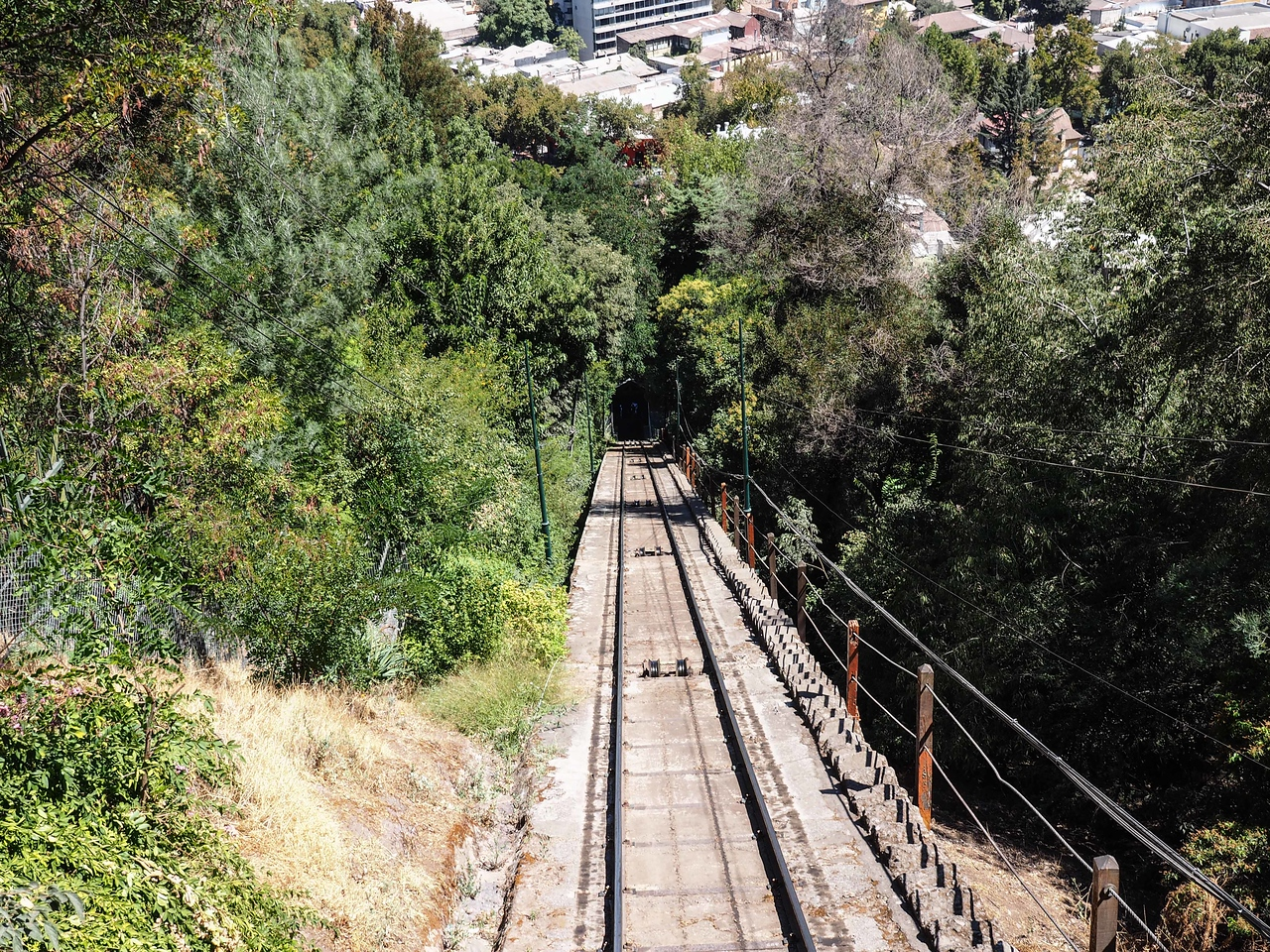 Riding the Funicular to the top of San Cristobal Hill