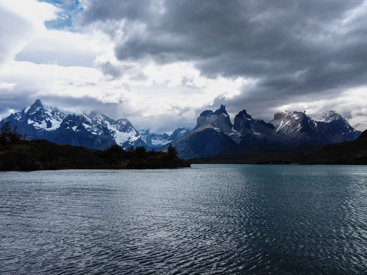 View of Paine Grande (left) and Cuemo Principal (right) from Lake Sarmiento