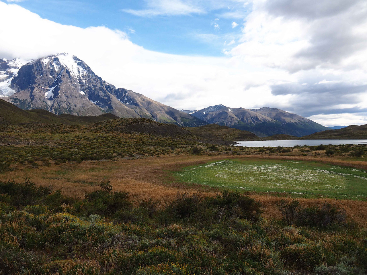 View of the mountains from the pampas, Torres del Paine NP