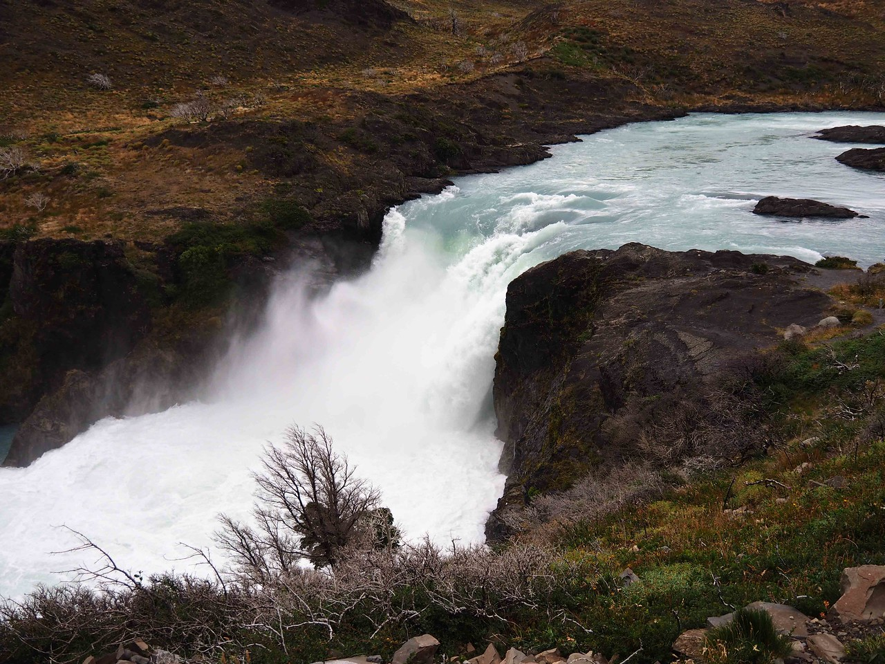 Salto Grande waterfall on the Paine River,  Torres del Paine NP