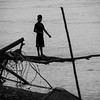 Boy fishing on the Napo River