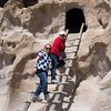 Climbing up to a Kiva, Bandelier National Monument
