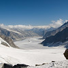 View of the Aletsch Glacier from the Jungfrau Joch. This is the largest glacier in Europe