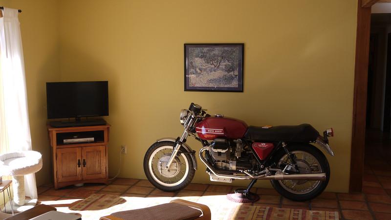 John put us up in Vail, Arizona for a few days.  Bikes can be furniture too.  Guzzi!