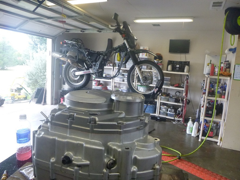 Using the engine as a motorcycle lift ;)