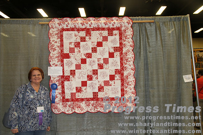"First Place - Small Bed Quilts ""Romantic Redwork"" Vicki Guerra"