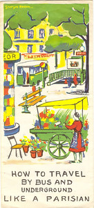 How to travel by bus and Underground like a Parisian - RATP Paris autobus & Metro brochure, illustrated by G Redon,