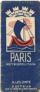 Paris Metropolitan plan (A Leconte editeur) - folder cover c1936