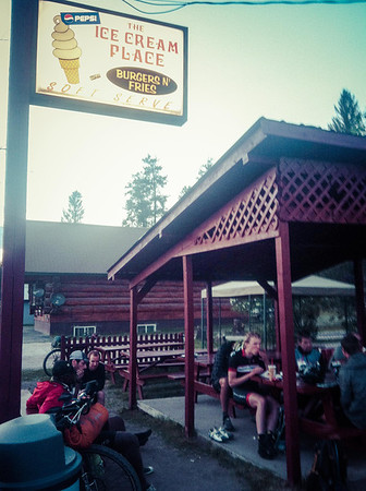 Seeley Lake - burgers and chicken strips to calm my nerves after our close call with the storm above.
