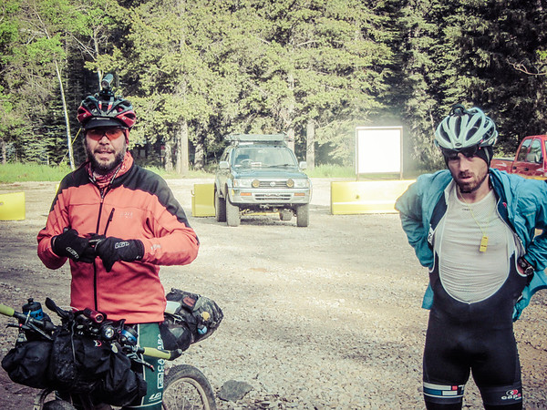 Scott Thigpen and Kevin gearing up for the climb up to Flathead Pass.