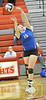 Wayne's Lexi Sokol bumps a ball during Conference Volleyball action Monday night in Norfolk. Wayne went on to beat Norfolk Catholic in four sets. <br /> Photo by Aaron Beckman