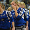 Photo by Aaron Beckman  <br /> <br /> Wynot's Kristi Bruening holds back her emotions as she shakes the hand of the Exeter-Miligan volleyball team during the opening round of the Nebraska State Volleyball tournament. Wynot's season comes to an end with their loss to Exeter-Millgan in three sets.