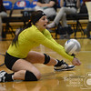 Photo by Aaron Beckman  <br /> <br /> Stuart's Brittany Hanzlik digs a ball Thursday night in Lincoln during the first round of the Nebraska State Volleyball tournaments. Stuart swept Mullen in three sets.