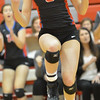 Photo by Aaron Beckman   <br /> <br /> Humphrey/Lindsay Holy Family's Jade Hake celebrates a point Tuesday night in Norfolk during the Championship game in the Sub District Volleyball against Lutheran High. The Eagles went on to sweep Humphrey/Lindsay Holy Family in three sets.