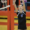 Photo by Aaron Beckman   <br /> <br /> Lutheran High's Olivia Spence bumps a ball Tuesday night in Norfolk during the Championship game against Humphrey/Lindsay Holy Family in the Sub District Volleyball. The Eagles swept the Bulldogs in three sets.