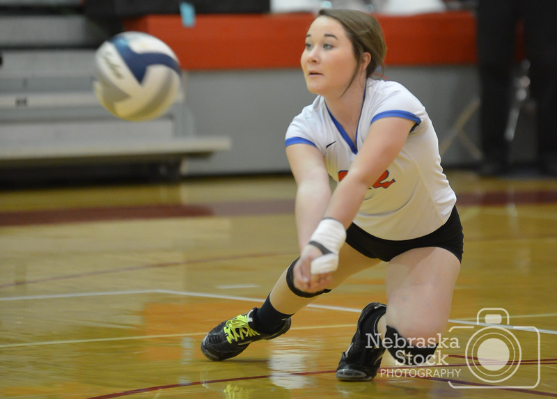 Photo by Aaron Beckman   <br /> <br /> Humphrey/Lindsay Holy Family's Brooke Johnson goes after a ball Tuesday night in Norfolk during Sub District Volleyball Championship against Lutheran High. The Lutheran High Eagles went on to sweep the Humphrey/Lindsay Holy Family in three sets.