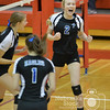 Photo by Aaron Beckman  <br /> <br /> Lutheran High's Bridgett Knobbe celebrates a point in the third set of the Championship game in the Sub District Volleyball match up against Humphrey/Lindsay Holy Family Tuesday night in Norfolk. Lutheran High swept the Bulldogs in three sets.