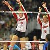 Photo by Aaron Beckman  <br /> <br /> Nebraska's Cecilia Hall and Kadie Rolfzen go up to block a ball in the 3rd set against Kansas Thursday night in Omaha.