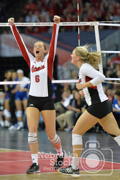Photo by Aaron Beckman  <br /> <br /> Nebraska's Kadie Rolfzen celebrates a point in the fourth set of their matchup against Kansas Thursday night in Omaha during the NCAA Final Four.