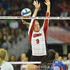 Photo by Aaron Beckman  <br /> <br /> Husker's Cecilia Hall blocks a spike against Kansas in the 3rd set Thursday night in Omaha.