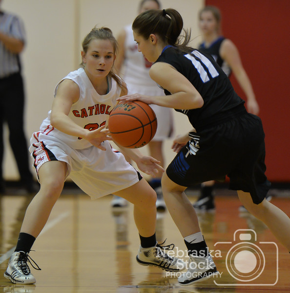 Photo by Aaron Beckman  <br /> <br /> Norfolk Catholic's Bailey Barnes attempts to knock the ball away from Lutheran High's Ari Rathke Thursday night in Norfolk.