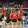 Photo by Aaron Beckman  <br /> <br /> Nebraska celebrate their second set win against Texas Saturday night in Omaha.