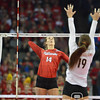 Photo by Aaron Beckman  <br /> <br /> Nebraska's Kelsey Fien waits to spike a ball against Texas Saturday night in Omaha.