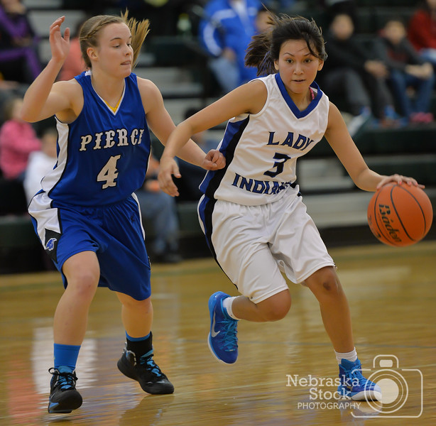 Photo by Aaron Beckman  <br /> <br /> Winnebago's Christina Springer attempts to dribble past Pierce's Casey Sutherland Tuesday night in Wisner during the Championship game of the Shoot-Out on the Elkhorn Holiday Tournament.