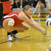 Photo by Aaron Beckman  <br /> <br /> Lady Knight, Maddie Love digs a serve Tuesday night at Lutheran High Northeast. Norfolk Catholic lost three straight sets to the Lady Eagles.