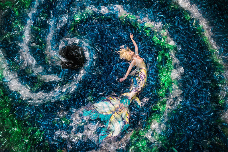This ocean is made of 10,000 plastic bottles