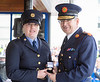 07/06/2016  XXjob News   Templemore Garda Síochána College, Templemore, Co. Tipperary passing out parade.  Garda Commissioner Drew Harris with Garda Graduate Edel Murphy as he awards her the Commissioner Medal for outstanding  academic achievement during her studies.  Picture: Andy Jay