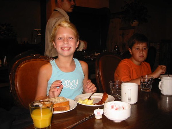 Breakfast with my grand kids at Tenaya Lodge on Friday morning,  July 29, 2005 - 7