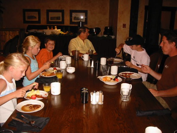 Breakfast with my grand kids at Tenaya Lodge on Friday morning,  July 29, 2005 - 9