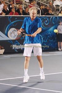 John McEnroe vs Andres Gomez with McEnroe winning the match at Delray Tennis Center for the ITC